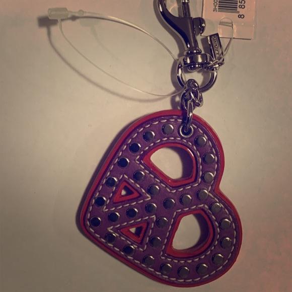 Purple Coach Leather Heart Peace Bag Charm